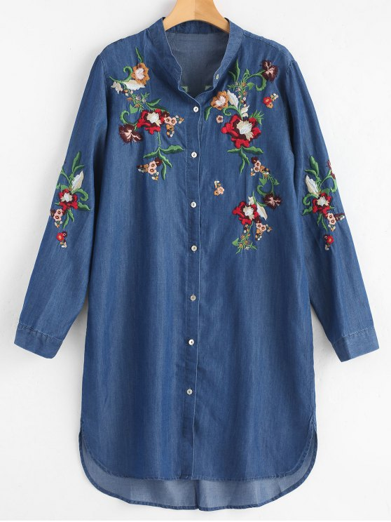 shop Casual Long Sleeve Embroidered Shirt Dress - DEEP BLUE ONE SIZE