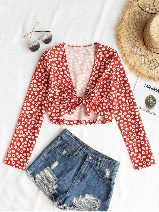 Cropped Low Cut Tiny Floral Top - Vermelho S