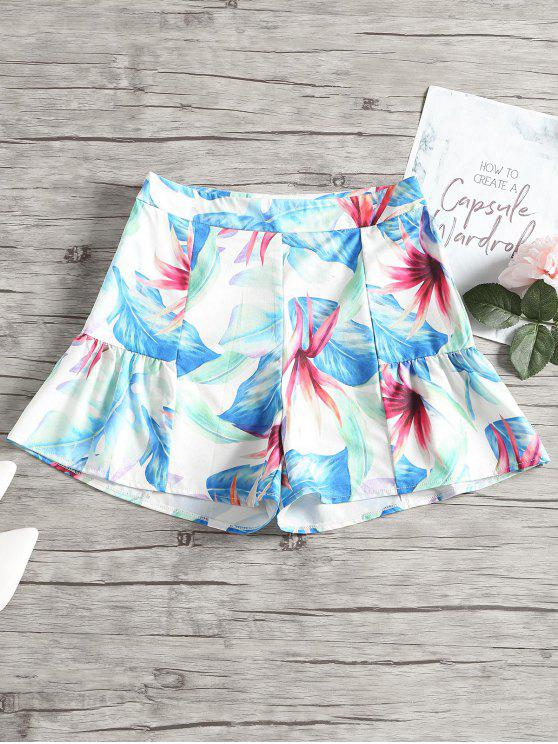 Blätter Druck Hohe Taille lose Shorts - Multi M