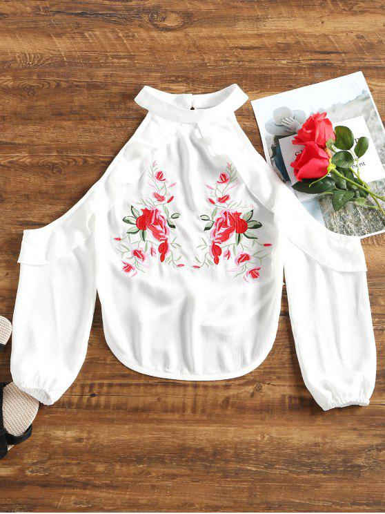 best Floral Patched Ruffle Hem Backless Blouse - WHITE M