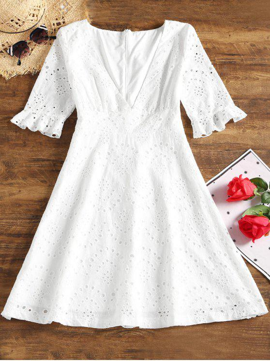 online Hollow Out Plunging Neck Flare Dress - WHITE S