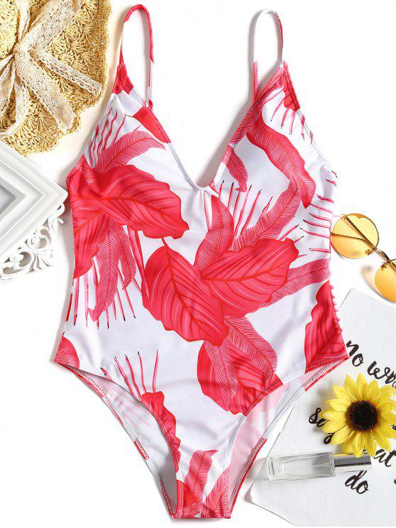 hot Leaf Print Strappy Back One Piece Swimsuit - RED M