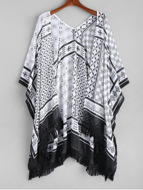 Kimono Padronizado com Franjas - Branco e Preto Tamanho único