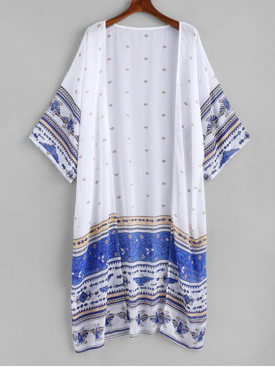 lady Printed Long Chiffon Kimono - WHITE ONE SIZE