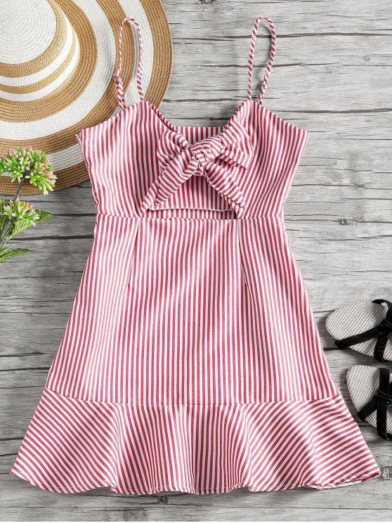 lady Self Tie Bowknot Striped Cami Dress - RED L