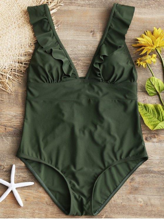 Rüschen Rücken Schnürung Einteiliger Badeanzug - Armeegrün S