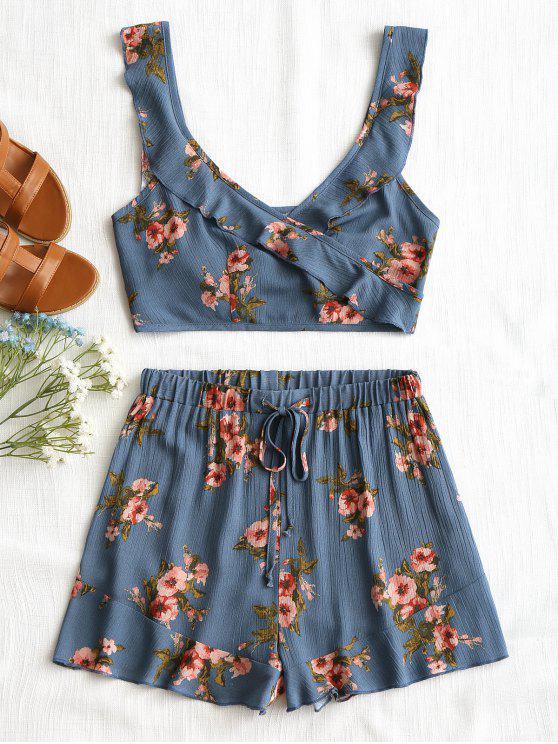 Top con volantes florales y pantalones cortos con cordones - Azul L