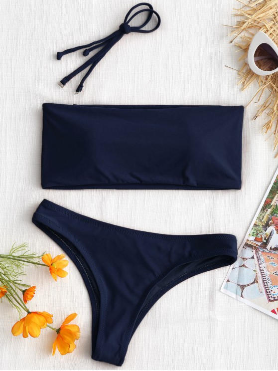 ladies High Cut Bandeau Thong Bathing Suit - PURPLISH BLUE XS