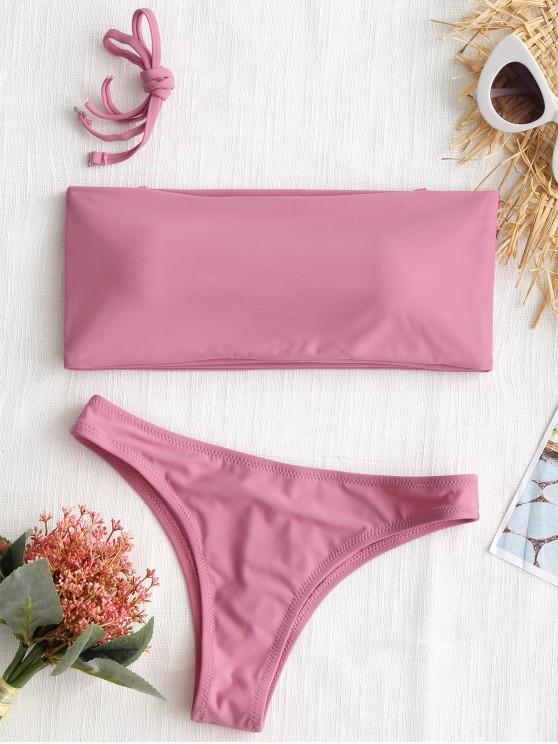 Hohe Schlitz Bandeau String Badeanzug - Rosa XS