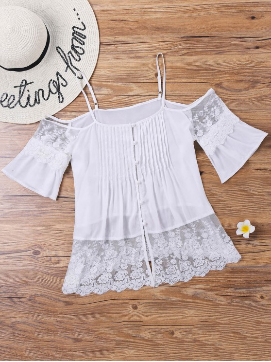 best Lace Pintuck Open Shoulder Blouse - WHITE L