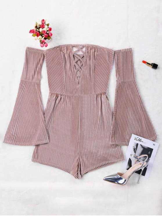 online Ribbed Off The Shoulder Romper - PINK L