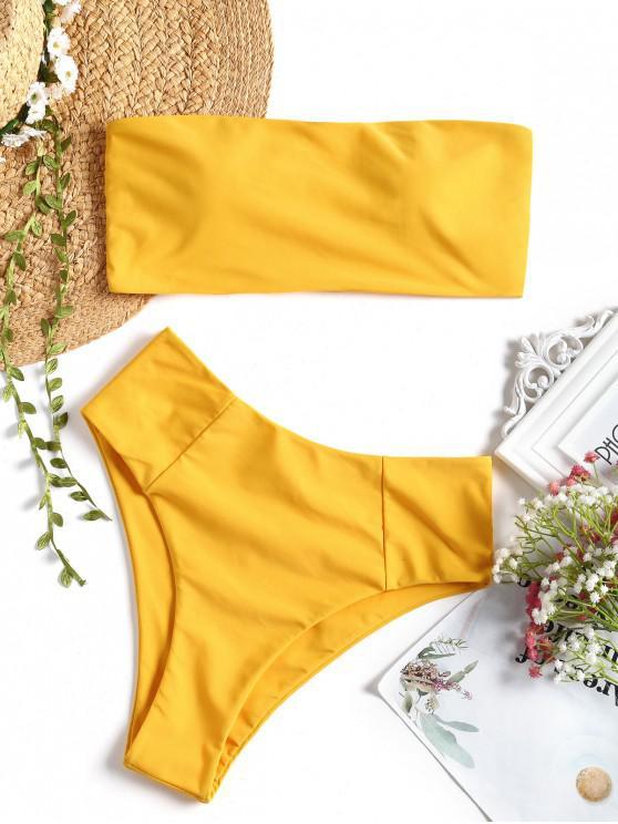 fancy High Cut Bandeau Bathing Suit - YELLOW M