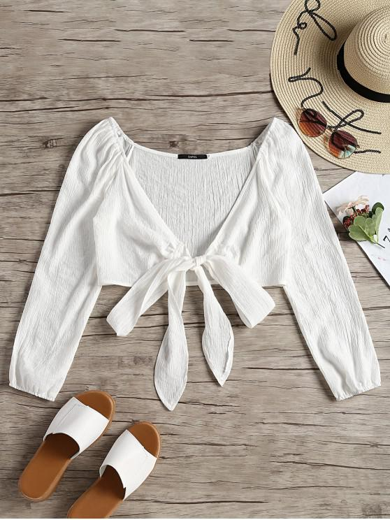 women Plunging Neck Tied Bowknot Crop Blouse - WHITE M