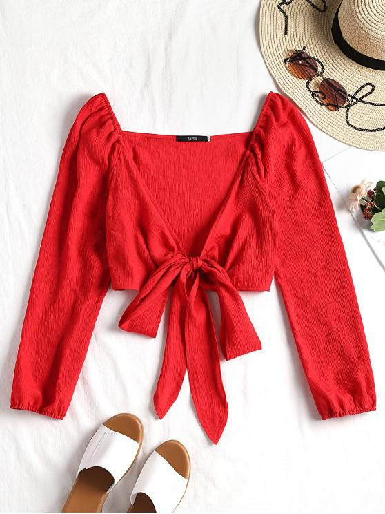 ladies Plunging Neck Tied Bowknot Crop Blouse - RED L