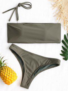 High Cut Bandeau Thong Bathing Suit - Army Green L