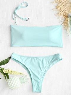 Hohe Schlitz Bandeau String Badeanzug - Pink Blau  L