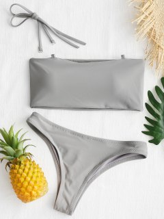 High Cut Bandeau Thong Bathing Suit - Gray L