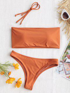 High Cut Bandeau Thong Bathing Suit - Orange Red M