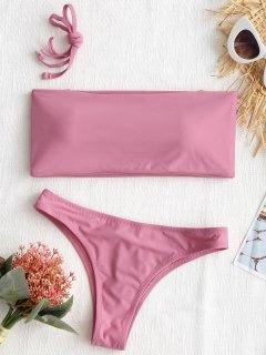 High Cut Bandeau Thong Bathing Suit - Pink M
