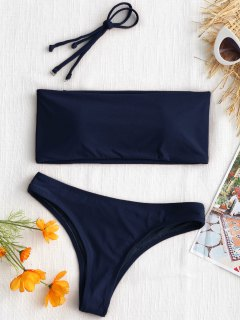 High Cut Bandeau Thong Bathing Suit - Purplish Blue S