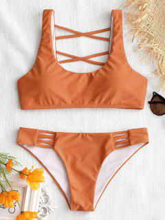 Strappy U Neck Badeanzug - Orange  S