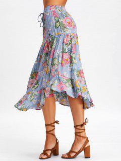 Drawstring Ruffle Floral Midi Skirt - Stone Blue L