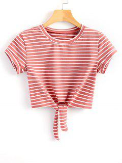 Striped Knot Front Crop Tee - Red And White S