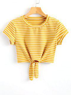 Striped Knot Front Crop Tee - Yellow M