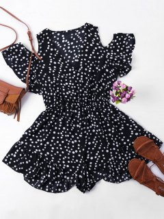 Polka Dot Cold Shoulder Romper - L