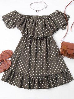 Polka Dot Off The Shoulder Mini Dress - M