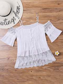 Lace Pintuck Open Shoulder Blouse - White M