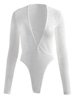 Plunge Fishnet Long Sleeve Bodysuit - White S