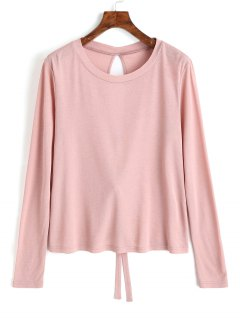 Cut Out Tied Bowknot Plain Tee - Pink L