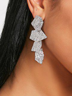 Hammered Geometric Drop Earrings - Silver