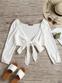 Plunging Neck Tied Bowknot Crop Blouse - White M