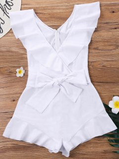 Ruffle Sleeveless Wrap Romper - White S