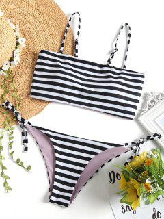 Cami Striped String Bikini Set - White And Black M