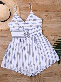 Striped Lace Up Slip Romper - Stripe S