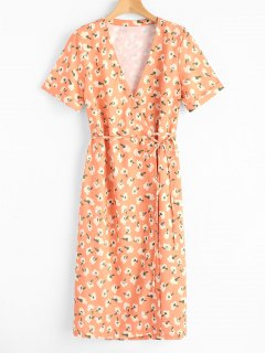 Short Sleeve Floral Wrap Midi Dresss - Orange Yellow L