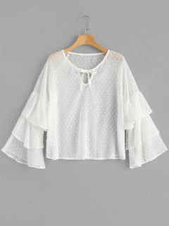 Layered See Through Textured Blouse - White L