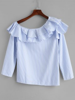 Stripes One Shoulder Ruffles Top - Light Blue S