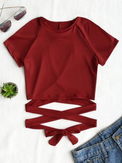 Cut Out Back Criss Cross Top - Wine Red M