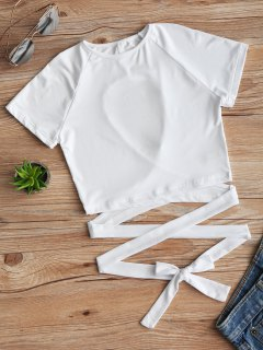 Cut Out Back Criss Cross Top - White S