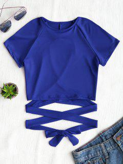 Cut Out Back Criss Cross Top - Blue S