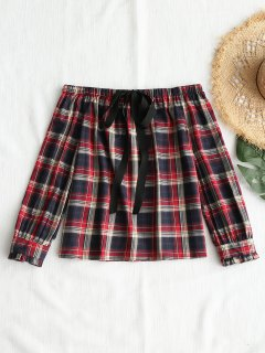 Front Tied Plaid Off Shoulder Top - Checked M