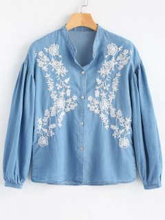 Long Sleeve Button Down Embroidered Shirt - Light Blue L