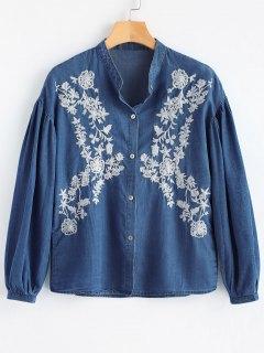 Chemise Brodée à Boutons à Manches Longues - Bleu Foncé L