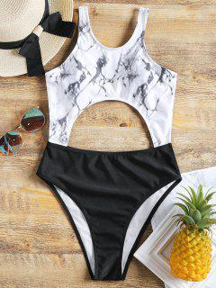 High Neck Cut Out High Leg Swimsuit - Black M