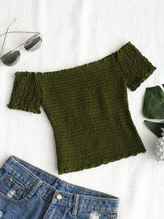 Shirred Off Shoulder Cropped Top - Army Green M