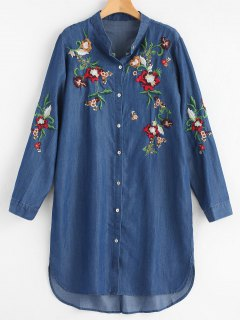 Casual Long Sleeve Embroidered Shirt Dress - Deep Blue